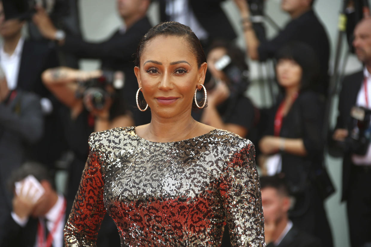 Singer Mel B poses for photographers upon arrival at the premiere of the film 'The Truth' and the opening gala of the 76th edition of the Venice Film Festival, Venice, Italy, Wednesday, Aug. 28, 2019. (Photo by Joel C Ryan/Invision/AP)