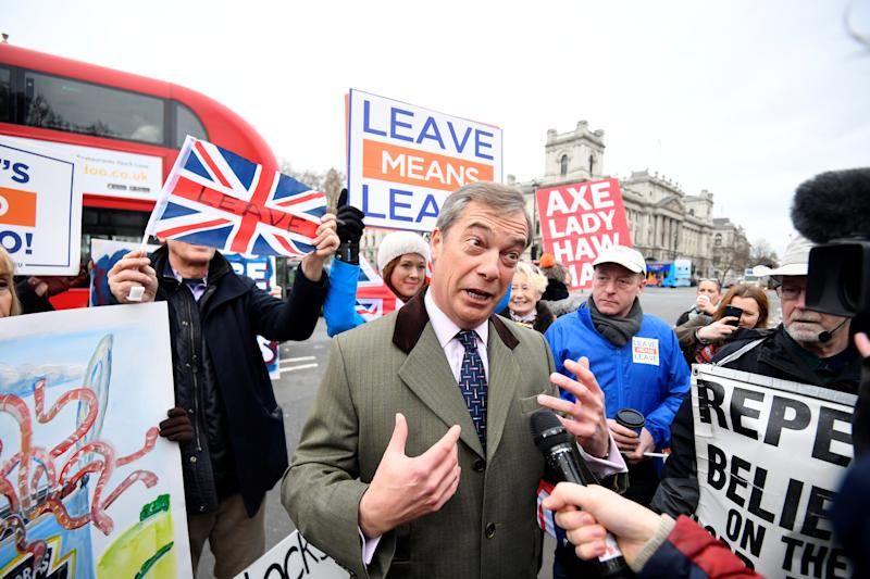 Former leader of UKIP Nigel Farage speaks to the media as Pro-Brexit and Anti-Brexit protesters demonstrate outside the Houses of Parliament in London, Britain, January 15, 2019. REUTERS/Toby Melville