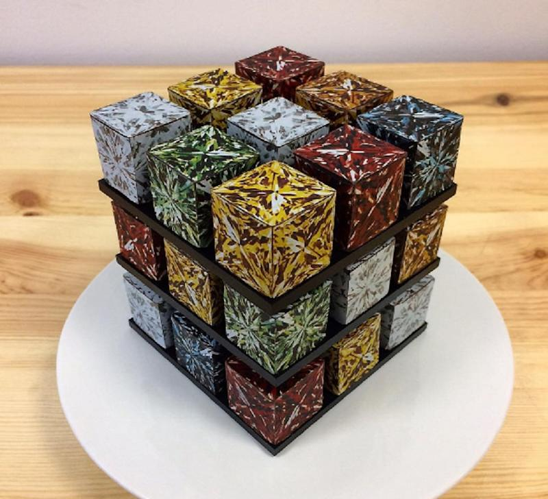these rubik s cube cakes are geometric culinary masterpieces