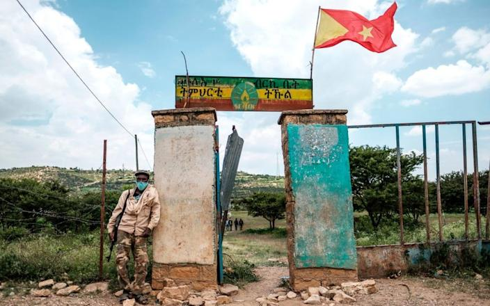On Wednesday a school acts as a polling station for the Tigray regional parliamentary election in northern Ethiopia...