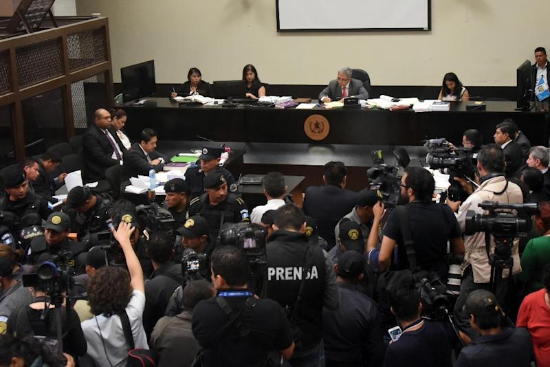 A general view during a hearing for Guatemala's former vice-president Roxana Baldetti in Guatemala City on August 24, 2015, after she was arrested on corruption charges (AFP Photo/Johan Ordonez)