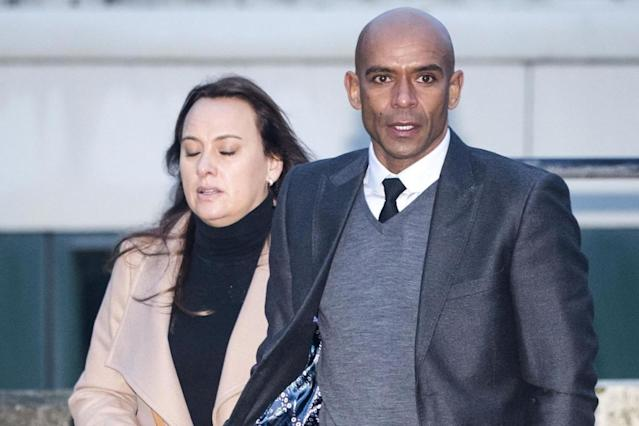 Court appearance: Trevor Sinclair arriving at Blackpool Magistrates' Court with his wife Natalie in November: PA
