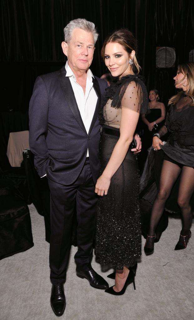 David Foster and Katharine McPhee pose together at the Elton John AIDS Foundation's Oscars party on March 4. (Photo: John Sciulli/Getty Images for Perry Ellis)