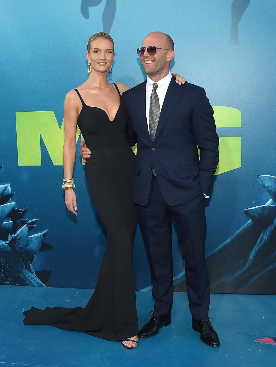<p>Jason Statham and partner Rosie Huntington-Whiteley, in Stella McCartney, scrubbed up beautifully for the LA premiere 'The Meg' in LA. <em>[Photo: Getty]</em> </p>