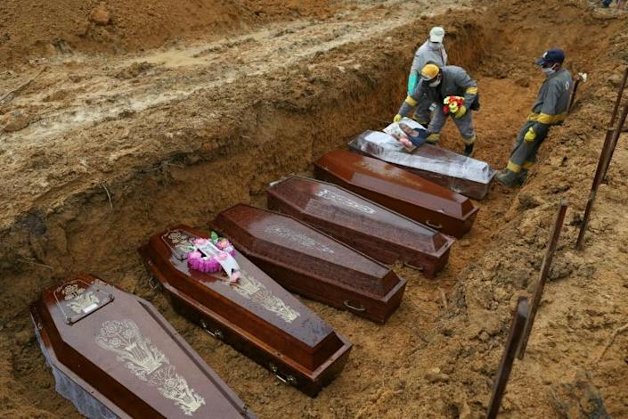 Victims of the coronavirus are buried in the Brazilian city of Manaus in the Amazon -- studies show that black Brazilians are dying at a higher rate than whites (AFP Photo/MICHAEL DANTAS)