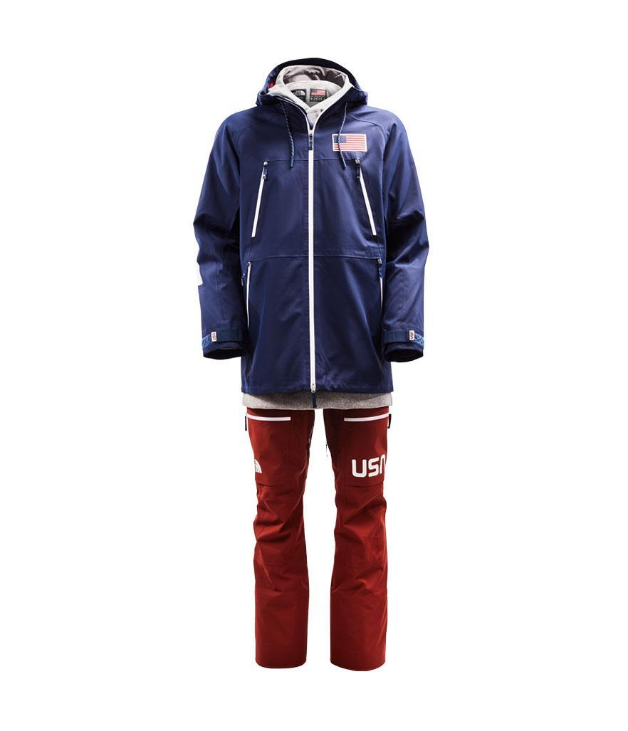 <p>Designed by the North Face, the Freeski uniform includes a blue jacket, red pants, and heather-grey sweatshirt underneath. (Photo: courtesy of the North Face) </p>