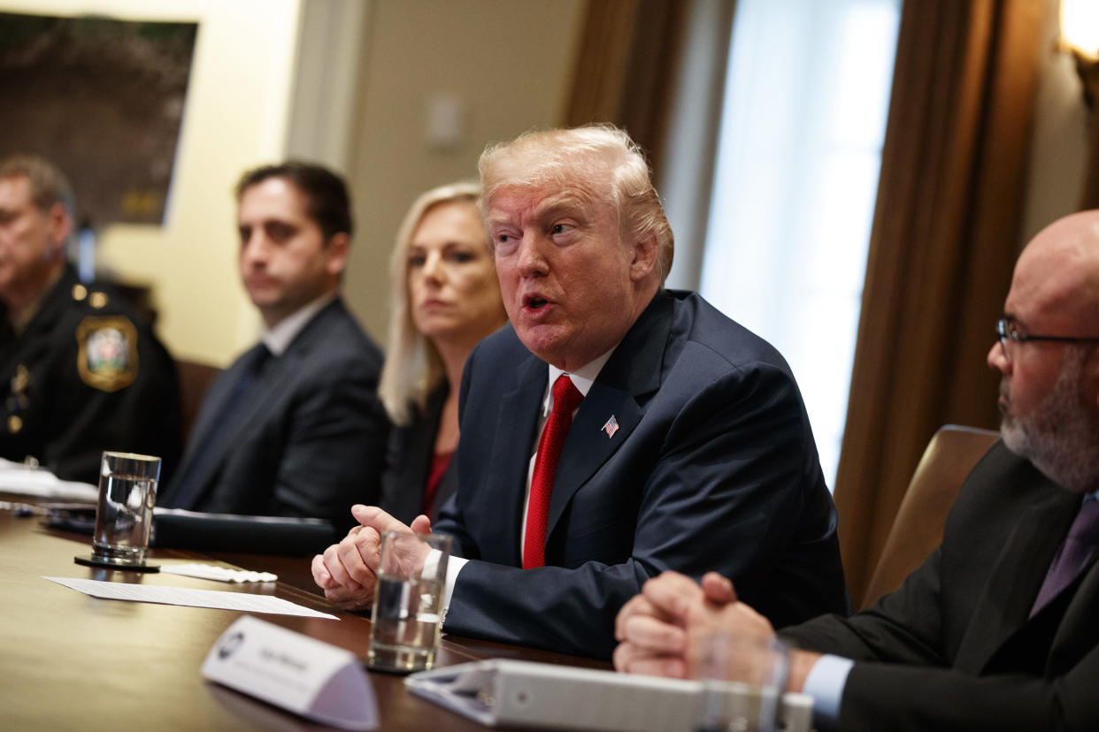 President Trump held a meeting with law enforcement officials on MS-13 and border security at the White House in February 2018. (Photo: Evan Vucci/AP)
