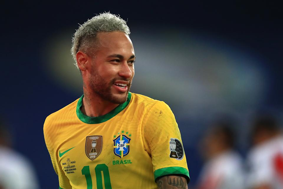 RIO DE JANEIRO, BRAZIL - JULY 05: Neymar Jr. of Brazil looks on during a semi-final match of Copa America Brazil 2021 between Brazil and Peru at Estadio Olímpico Nilton Santos on July 05, 2021 in Rio de Janeiro, Brazil. (Photo by Buda Mendes/Getty Images)