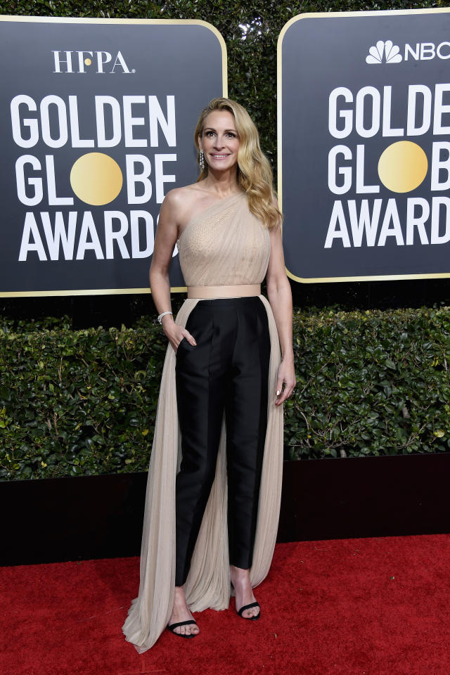 """<p>A nominee for her role in """"Homecoming,"""" Roberts looked chic in a pantsuit by Stella McCartney. Image via Getty Images. </p>"""