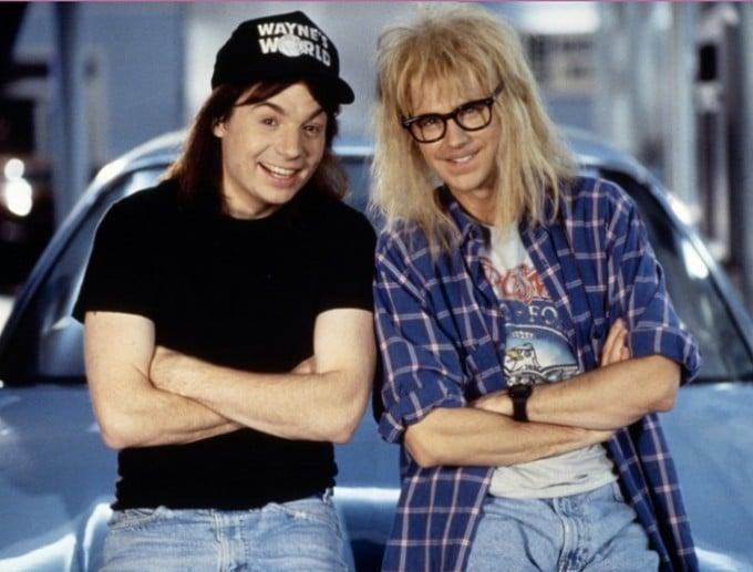 <ul> <li><strong>What to wear for Wayne:</strong> Black Converse sneakers, old, ripped jeans, a long brown wig, a black t-shirt, and a black <strong>Wayne's World</strong> hat.</li> <li><strong>What to wear for Garth:</strong> Black Converse sneakers, washed-out jeans, a white band t-shirt under a blue plaid shirt with rolled-up sleeves, a shaggy blond wig, and black-rimmed glasses.</li> </ul>
