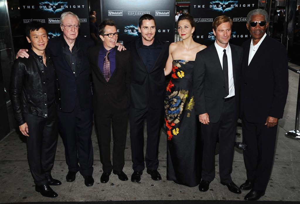 "The cast of ""The Dark Knight"" -- Chin Han, Michael Caine, Gary Oldman, Christian Bale, Maggie Gyllenhaal, Aaron Eckhart, and Morgan Freeman -- gathered for the film's premiere in New York on Monday. The film -- Heath Ledger's last -- raked in a record-breaking $155 million on its opening weekend. Dimitrios Kambouris/<a href=""http://www.wireimage.com"" target=""new"">WireImage.com</a> - July 14, 2008"