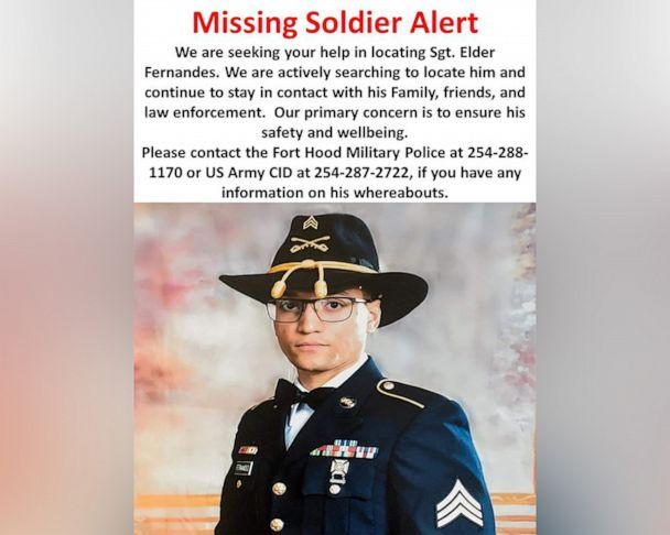 PHOTO: Missing Army Sgt. Elder Fernandes, 23, is pictured in a poster released by Fort Hood in Texas on Aug. 20, 2020. (U.S. Army)