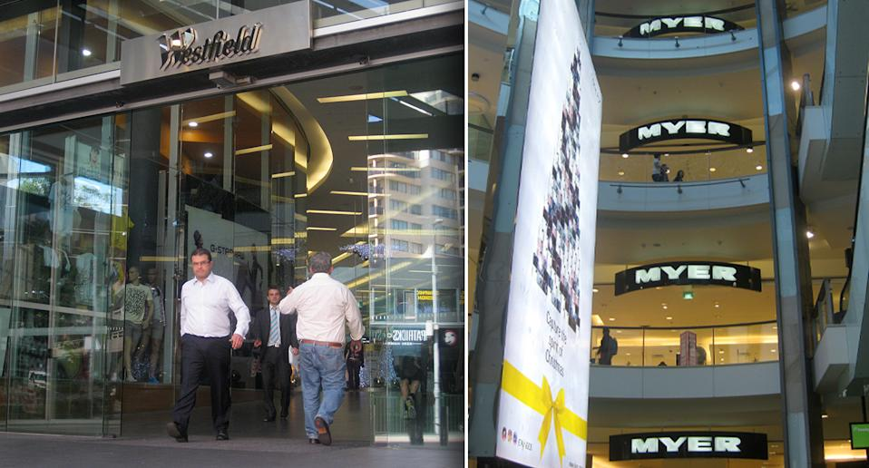 Customers walk through an entrance to the Westfield shopping centre in Bondi Junction, Sydney on November 24, 2008. (AAP Image/Tom Compagnoni) NO ARCHIVING