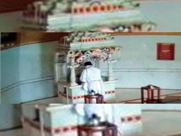 Former Congress MLA Vinod Daga died while performing pooja at a temple in Betul. [Photo/CCTV grab]