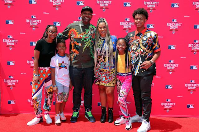 CC Sabathia poses for a photo with his family during the MLB Red Carpet Show at Progressive Field on Tuesday, July 9, 2019 in Cleveland, Ohio. (Getty Images)