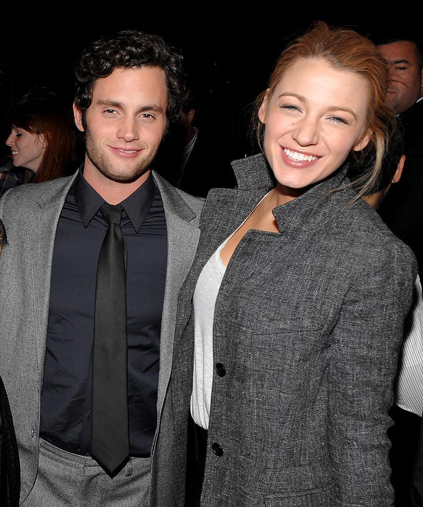 <p>Lively accompanies then-boyfriend Penn Badgley to the premiere of his film <i>Stepfather</i> on Oct. 12, 2009. The <i>Gossip Girl</i> co-stars dated for three years before calling it quits in 2010.<i> (Photo: Dimitrios Kambouris/WireImage)</i></p>