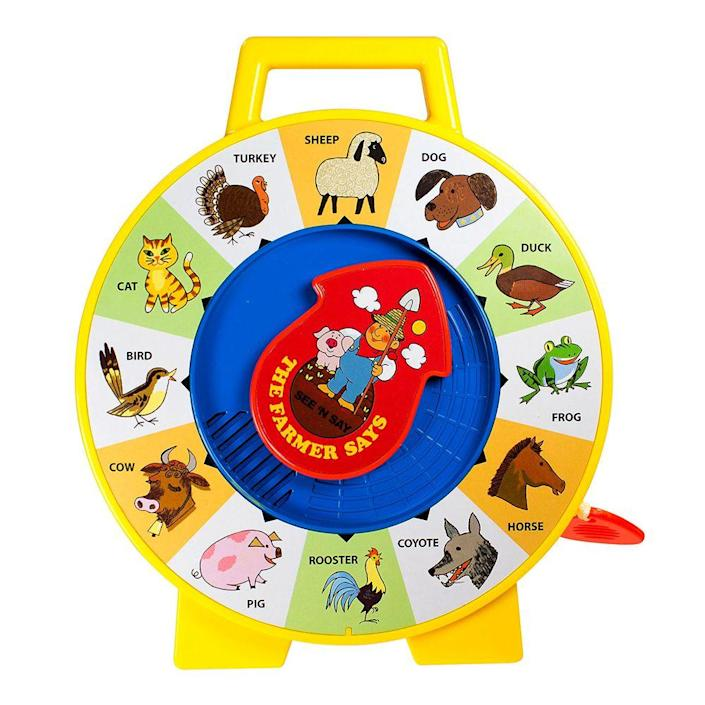"""<p><a class=""""link rapid-noclick-resp"""" href=""""https://www.amazon.com/Fisher-Price-Little-People-Farmer-Eddie/dp/B00NHPGW8Y/ref=sr_1_5?tag=syn-yahoo-20&ascsubtag=%5Bartid%7C10063.g.34738490%5Bsrc%7Cyahoo-us"""" rel=""""nofollow noopener"""" target=""""_blank"""" data-ylk=""""slk:BUY NOW"""">BUY NOW</a><br></p><p>See N' Say was a twist on Mattel's popular talking toys. The clock-like device taught young children the sound a barnyard animal makes by simply pointing the arrow to the animal and pulling the lever. It quickly became a success, and Mattel developed other variations that included voices of famous characters, like Mickey, Big Bird, and Winnie the Pooh.</p>"""