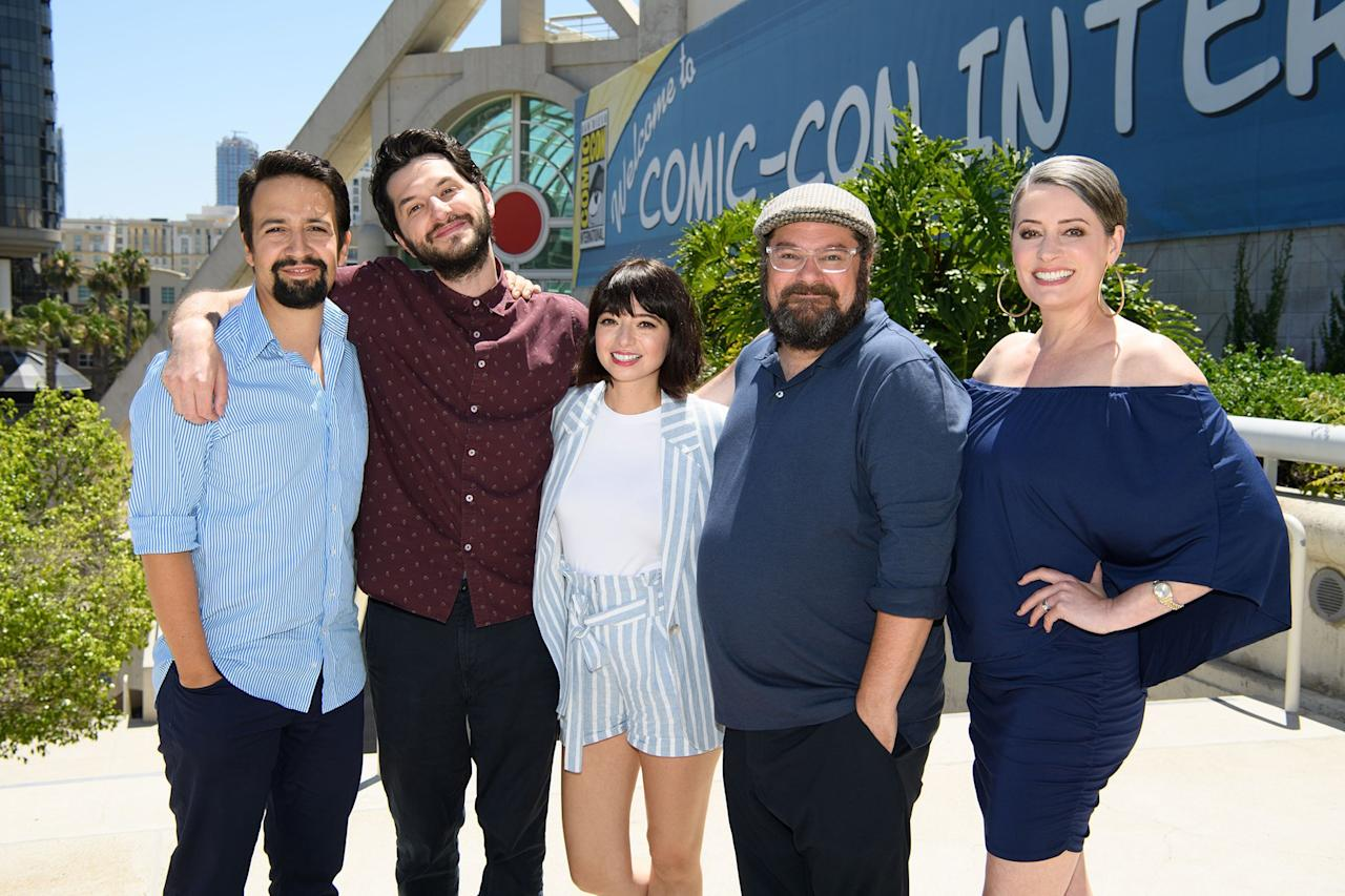 Lin-Manuel Miranda, Ben Schwartz, Kate Miccuci, Bobby Moynihan and Paget Brewster flock to Comic-Con 2019 in San Diego on Friday to promote their upcoming <em>DuckTales</em>.