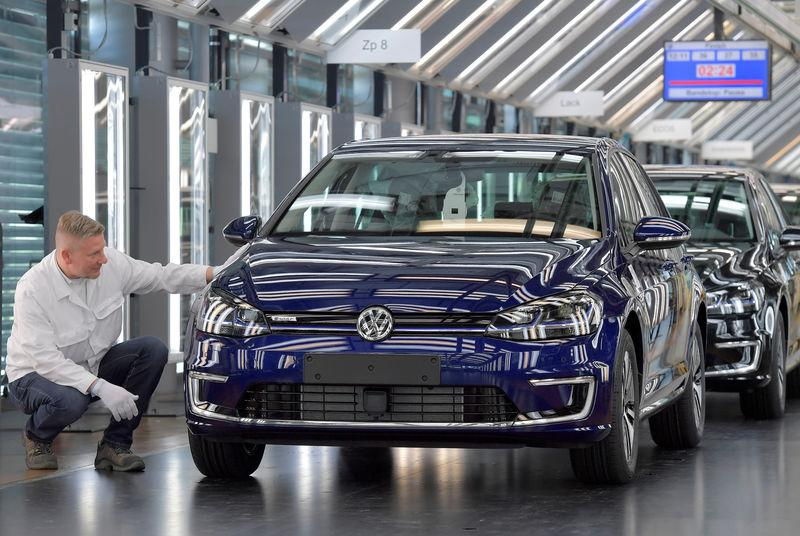 FILE PHOTO: Production line of Volkswagen e-Golf in Dresden