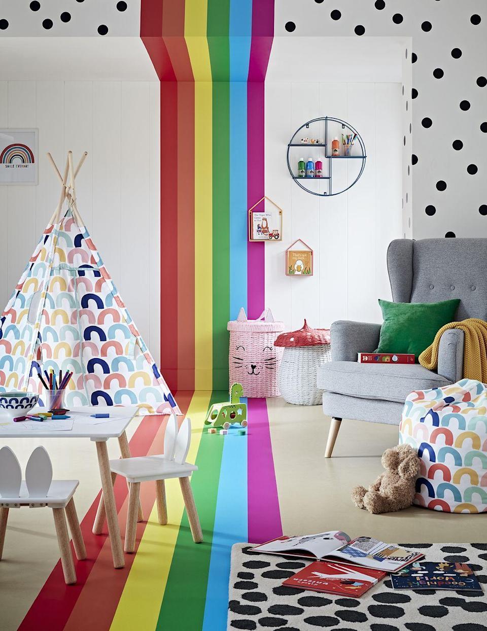 """<p>Ideal for a little girls' room, bold and bright stripes reach from the floor to ceiling, juxtaposed with black polka dots. Accessorise with bold prints and plains and look out for rattan storage baskets – they're a fab option and hard-wearing.</p><p>Pictured: From the Kids Collection, <a href=""""https://www.argos.co.uk/browse/home-and-furniture/kids-room/c:29371/"""" rel=""""nofollow noopener"""" target=""""_blank"""" data-ylk=""""slk:Argos HOME"""" class=""""link rapid-noclick-resp"""">Argos HOME</a></p>"""