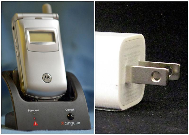 "FILE -This combination of Associated Press file photos shows, left, a Cingular ""Fast Forward"" cradle and Motorola mobile phone in New York on Tuesday Nov. 4, 2003, and an Apple ultracompact USB Power Adapter, on Friday, Sept. 19, 2008, in New York. The average amount of electricity consumed by U.S. homes in 2013 is on track to fall for the third year in a row, to its lowest level since 2001. While we are using more devices, more efficient phone and computer chargers are part of what has changed since the last time power consumption was so low. (AP Photo/File)"