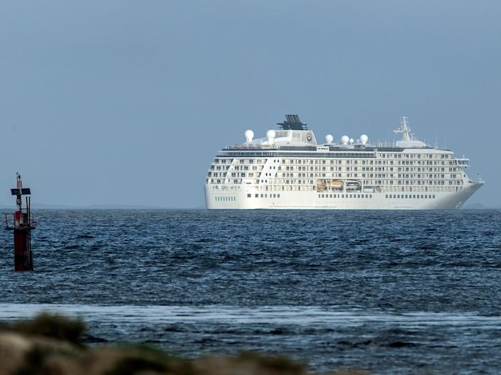 The cruise ship sits anchored off the port of Fremantle near Perth on March 27, 2020.
