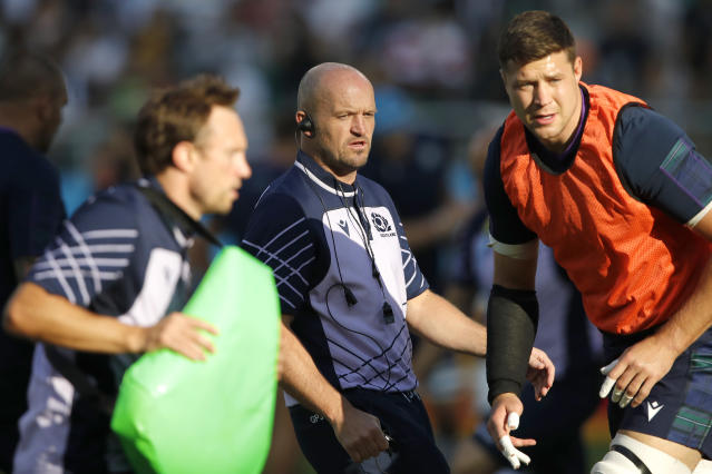 Scotland's coach Gregor Townsend watches his players warm up ahead of the Rugby World Cup Pool A game at Shizuoka Stadium Ecopa between Scotland and Russia in Shizuoka, Japan, Wednesday, Oct. 9, 2019. (AP Photo/Christophe Ena)