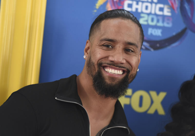 Jimmy Uso arrives at the Teen Choice Awards at The Forum on Sunday, Aug. 12, 2018, in Inglewood, Calif. (Photo by Jordan Strauss/Invision/AP)