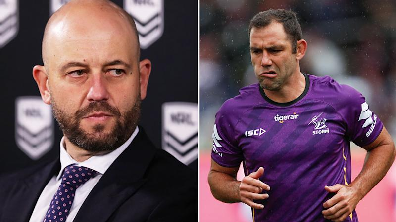 Seen here, NRL CEO Todd Greenberg and Storm skipper Cameron Smith.