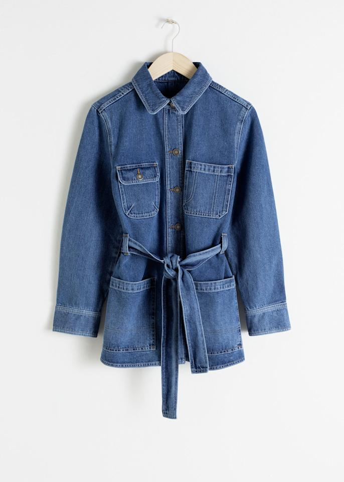 "$99, & Other Stories. <a href=""https://www.stories.com/en_usd/clothing/jackets-coats/denimjackets/product.belted-workwear-denim-jacket-blue.0708658001.html"">Get it now!</a>"