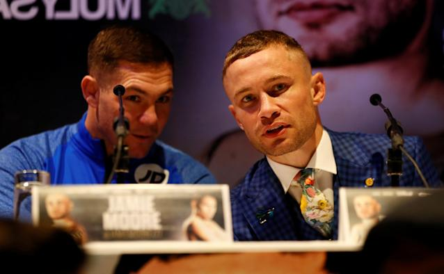 Boxing - Carl Frampton & Nonito Donaire Public Work-Outs - Victoria Square Shopping Centre, Belfast, Britain - April 18, 2018 Carl Frampton and trainer Jamie Moore during a press conference Action Images via Reuters/Jason Cairnduff