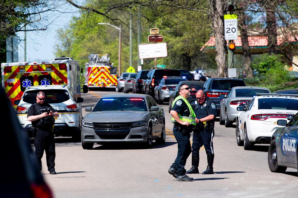 School shooting: police vehicles at the scene of the incident in Knoxville  (AP)