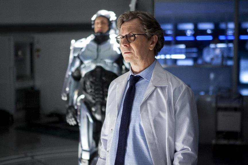 """This image released by Columbia Pictures shows Gary Oldman in a scene from the film, """"RoboCop."""" (AP Photo/Columbia Pictures - Sony, Kerry Hayes)"""