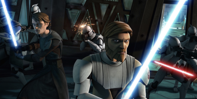 Anakin and Obi-Wan fight in the Clone Wars (credit: Disney)