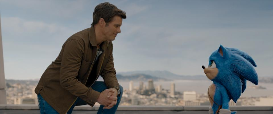 James Marsden and Sonic (Ben Schwartz) in SONIC THE HEDGEHOG from Paramount Pictures and Sega. Photo Credit: Courtesy Paramount Pictures and Sega of America.