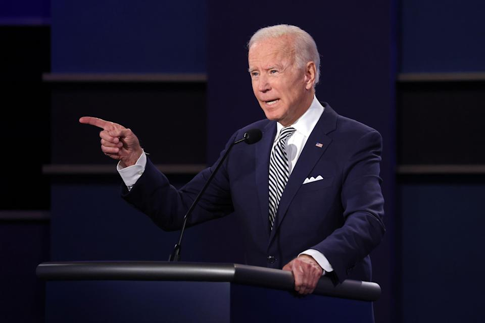 Democratic presidential nominee Joe Biden tells President Donald Trump to get smart at the Health Education Campus of Case Western Reserve University on Sept. 29 in Cleveland.