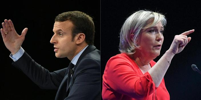 French centrist presidential candidate Emmanuel Macron and far right leader Marine Le Pen have contrasting views on a range of issues (AFP Photo/Eric FEFERBERG, ALAIN JOCARD)