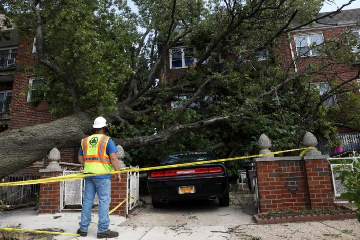 A New York City worker looks at the damage from a tree that has fallen on a house and car during the clean up of Tropical Storm Isaias in the Astoria neighborhood of Queens, New York