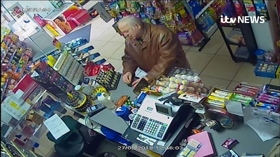 Skripal was pictured picking up scratch cards and groceries (ITV)
