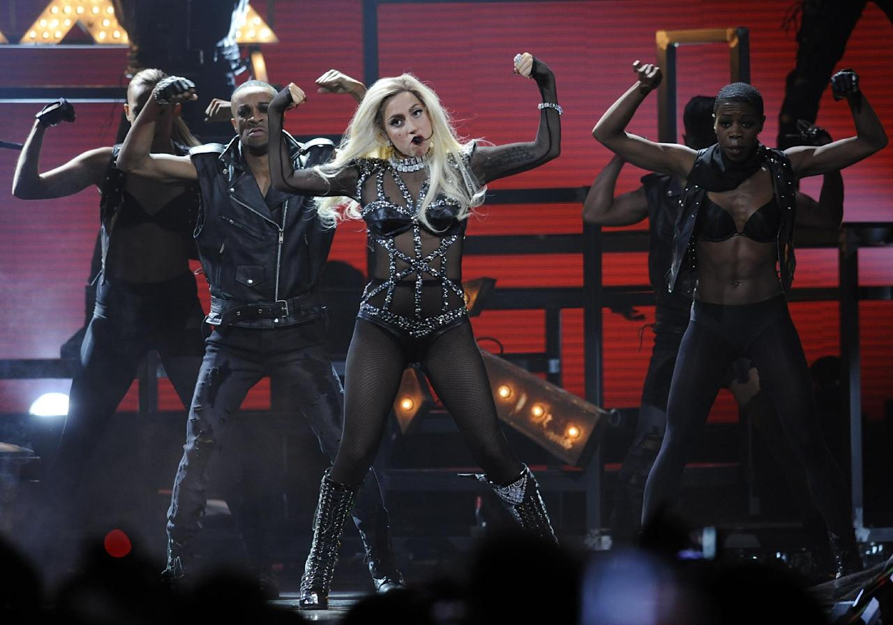 Lady Gaga performs during the iHeartRadio music festival on Saturday, Sept. 24, 2011, in Las Vegas. (AP Photo/Chris Pizzello)