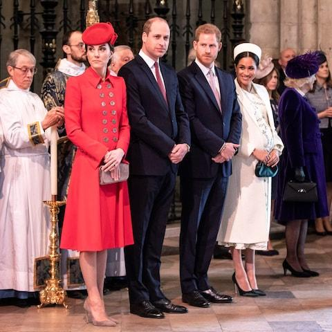 The Duke and Duchess of Cambridge, left, will attend the state banquet for Donald Trump's visit but the Duke and Duchess of Sussex - Credit: Rota photo /Richard Pohle / Times Newspapers Ltd