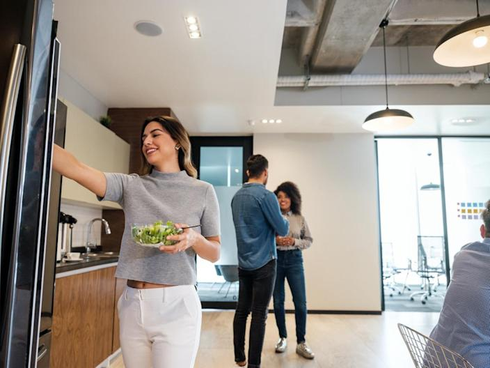 coworking space,office kitchen, business people, young people, latin people,