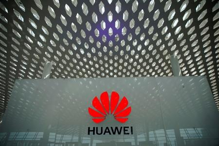 FILE PHOTO: A Huawei company logo at the Shenzhen International Airport