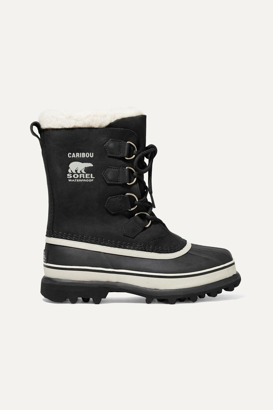 """<p><strong>Sorel</strong></p><p>net-a-porter.com</p><p><strong>$160.00</strong></p><p><a href=""""https://go.redirectingat.com?id=74968X1596630&url=https%3A%2F%2Fwww.net-a-porter.com%2Fen-us%2Fshop%2Fproduct%2Fsorel%2Fcaribou-waterproof-nubuck-and-rubber-boots%2F1064020&sref=https%3A%2F%2Fwww.harpersbazaar.com%2Ffashion%2Ftrends%2Fg3124%2Fbest-snow-boots%2F"""" rel=""""nofollow noopener"""" target=""""_blank"""" data-ylk=""""slk:Shop Now"""" class=""""link rapid-noclick-resp"""">Shop Now</a></p><p>Can't go wrong with the classic Sorel boots to keep you armored for whatever unpredictable winter weather you might encounter. </p>"""