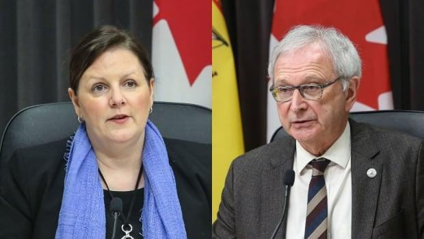 Dr. Jennifer Russell and Premier Blaine Higgs held a live-streamed COVID-19 update Thursday. (Government of New Brunswick - image credit)