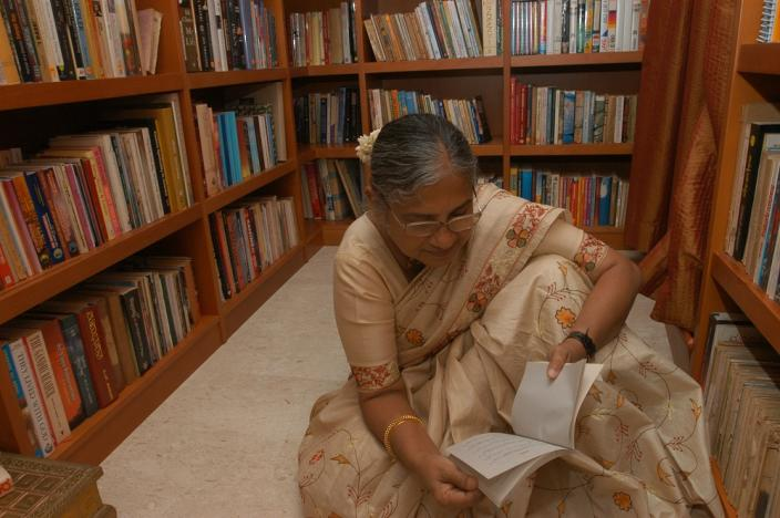 Sudha Murty in her personal library at her residence in Jaya Nagar, Bangalore (File photo)