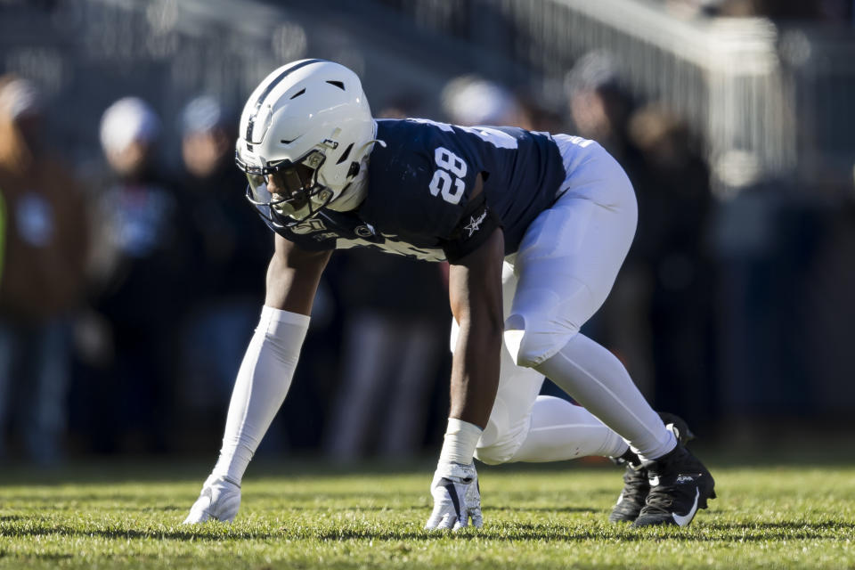 STATE COLLEGE, PA - NOVEMBER 16: Jayson Oweh #28 of the Penn State Nittany Lions lines up against the Indiana Hoosiers during the second half at Beaver Stadium on November 16, 2019 in State College, Pennsylvania. (Photo by Scott Taetsch/Getty Images)