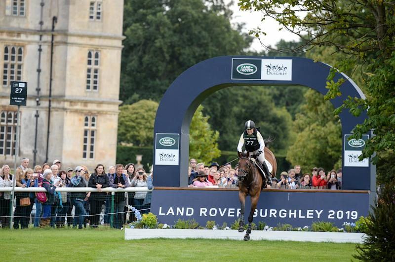 Pippa Funnell during the cross country phase of the Land Rover Burghley Horse Trials
