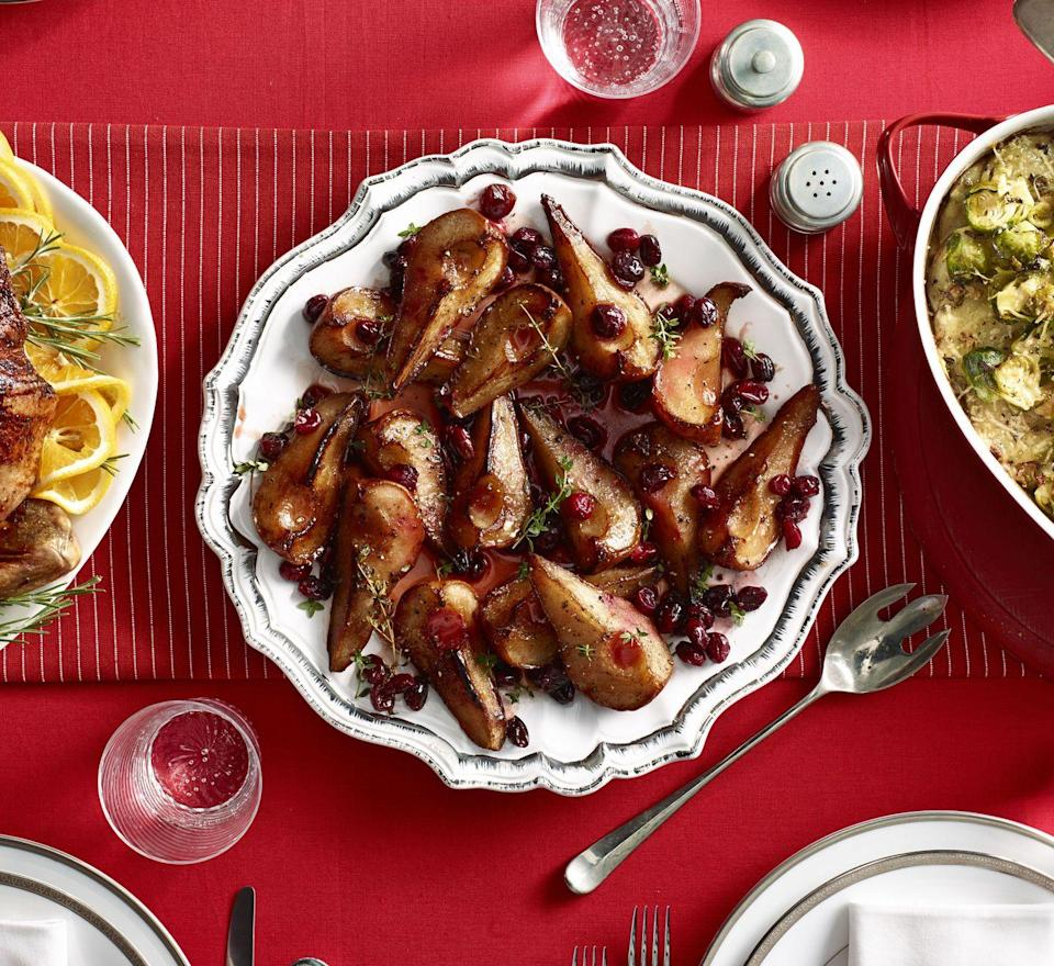 """<p>Is it sweet? Is it tangy? Is it the perfect <a href=""""https://www.goodhousekeeping.com/holidays/christmas-ideas/g4021/christmas-side-dishes/"""" rel=""""nofollow noopener"""" target=""""_blank"""" data-ylk=""""slk:side dish for Christmas"""" class=""""link rapid-noclick-resp"""">side dish for Christmas</a> or any other wintery feast? All of the above.</p><p><em><a href=""""https://www.womansday.com/food-recipes/food-drinks/a29665864/roasted-maple-pears-with-cranberries-and-thyme/"""" rel=""""nofollow noopener"""" target=""""_blank"""" data-ylk=""""slk:Get the recipe from Woman's Day »"""" class=""""link rapid-noclick-resp"""">Get the recipe from Woman's Day »</a></em></p>"""