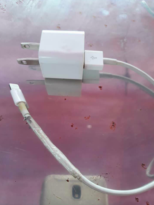 <em>Exposed wires can be seen towards the end of the cable (AsiaWire)</em>